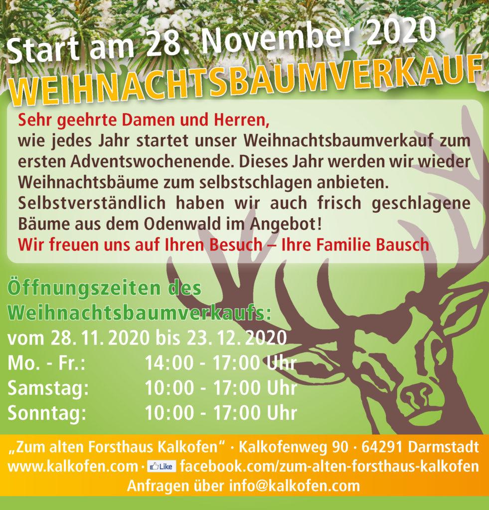 Werbung Weihnachtsbaumverkauf 2020 am Forsthaus Kalkofen